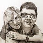 Glückliches Paar (Kohlezeichnung)