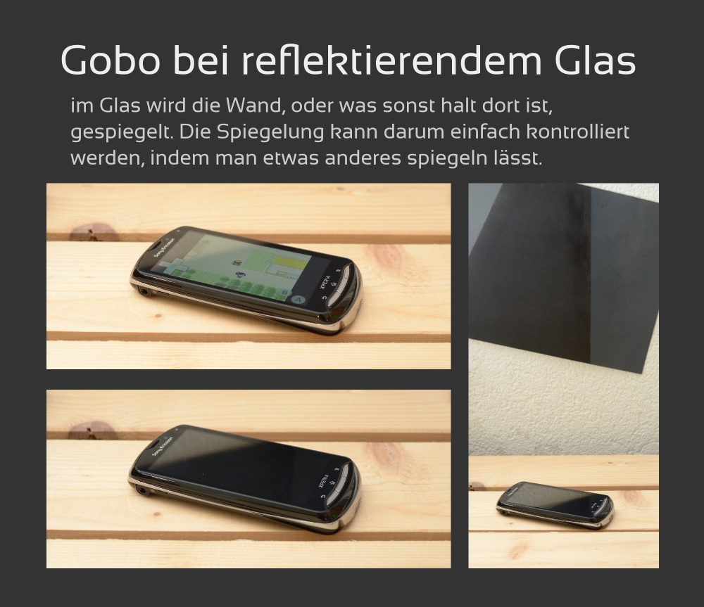 Gobo-Einsatz bei spiegelndem Display