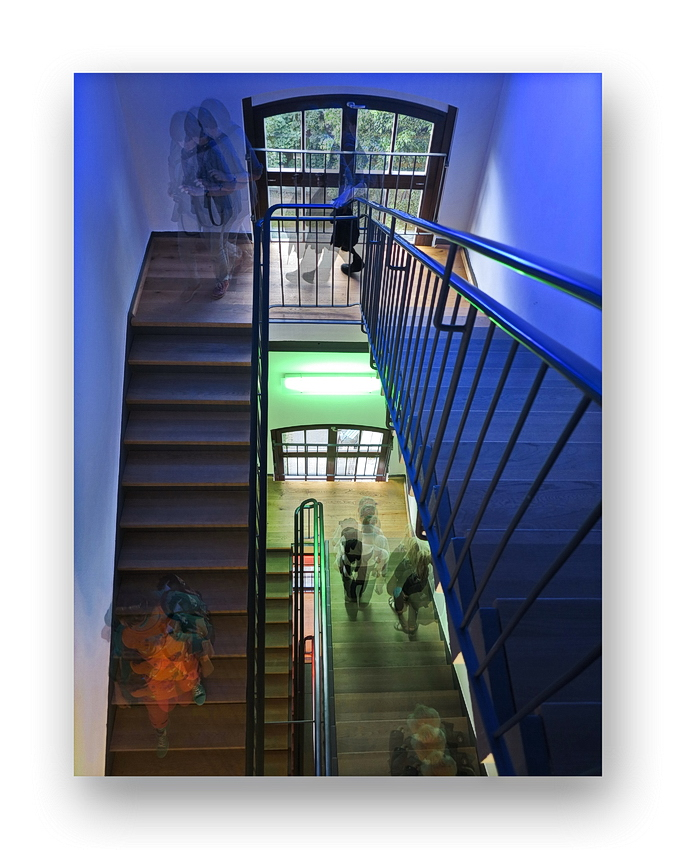 ... going up/down stairs