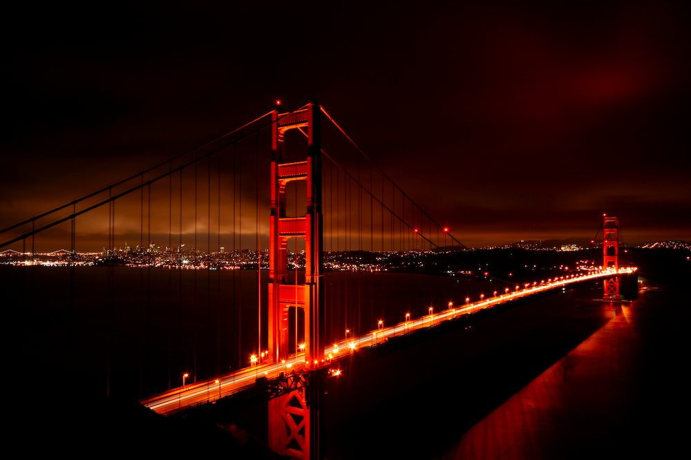 golden gate bridge night foto bild north america. Black Bedroom Furniture Sets. Home Design Ideas