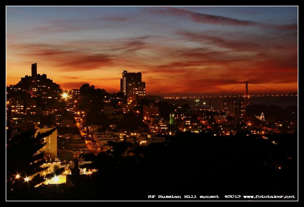 Golden Sky over Lombard Street - Russian Hill