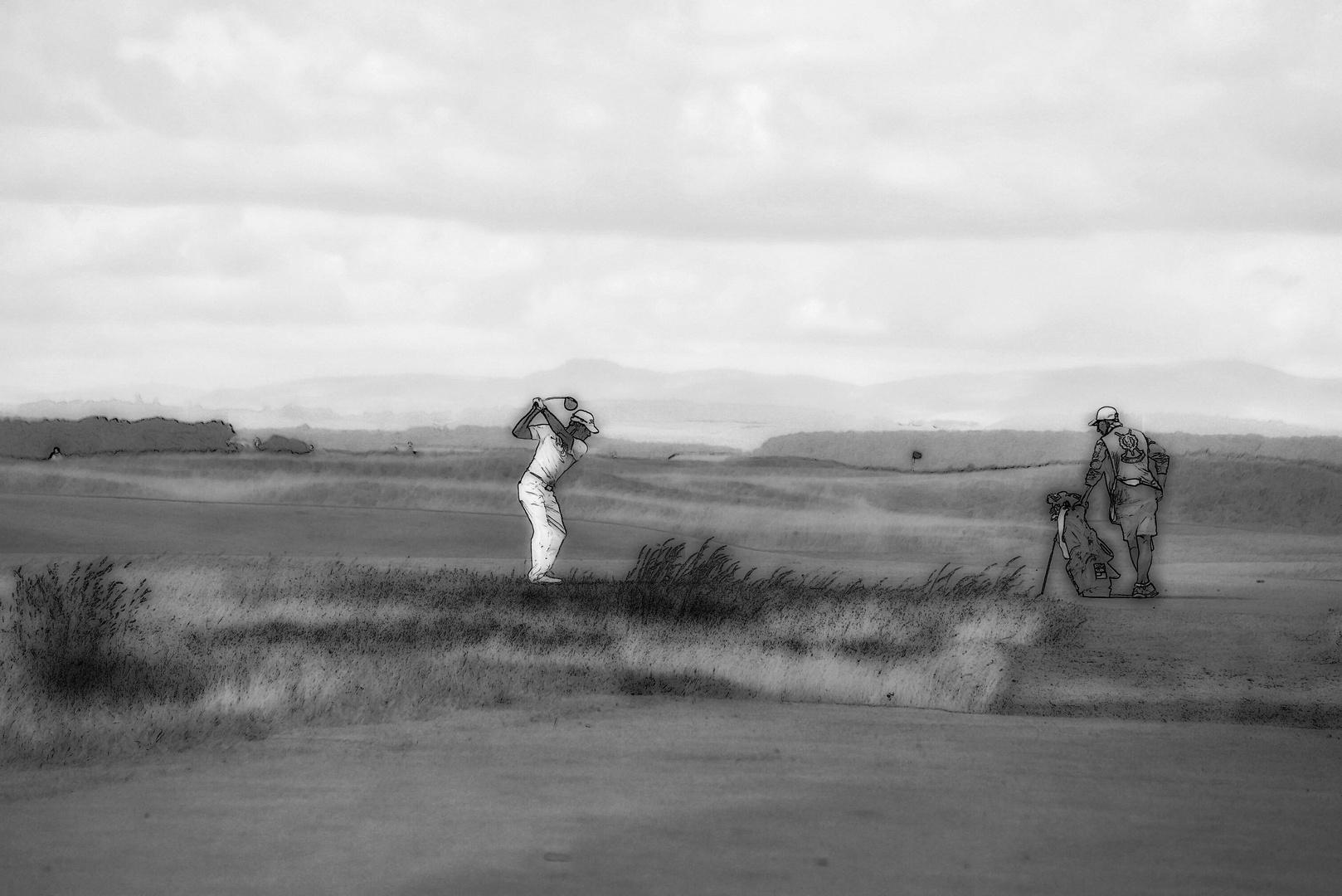 Golfspieler .......und Caddie