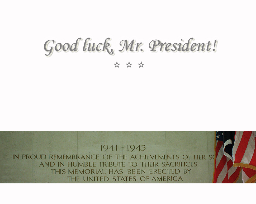Good luck, Mr. President!