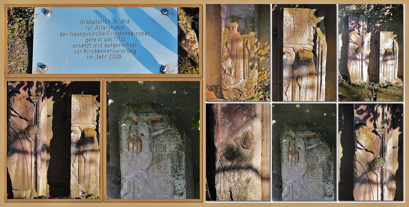 Grabplatten 16. Jh. ehemals als Altarstufen verwendet und neu aufgestellt