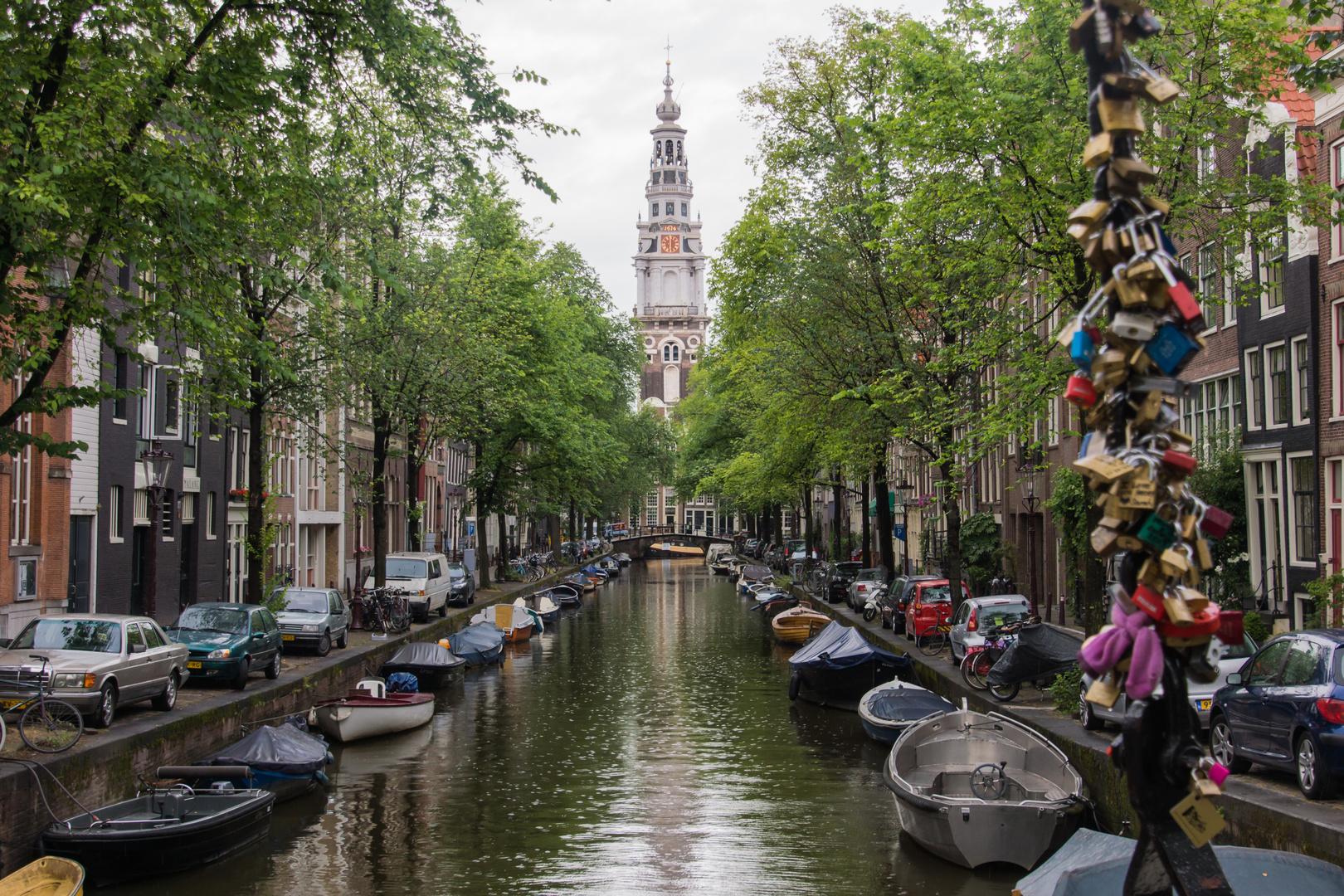Grachtenansicht mit Zuiderkerk - Amsterdam