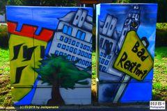 Graffiti auf eien Stromverteilerkasten in Gladbeck-Rentfort