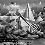 Graffiti-Kunstwerk, aufgenommen bei einer Ausstellung in der Völklinger Hütte 2018