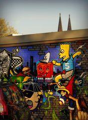 Graffiti SPIEGELUNG mit domspitzen