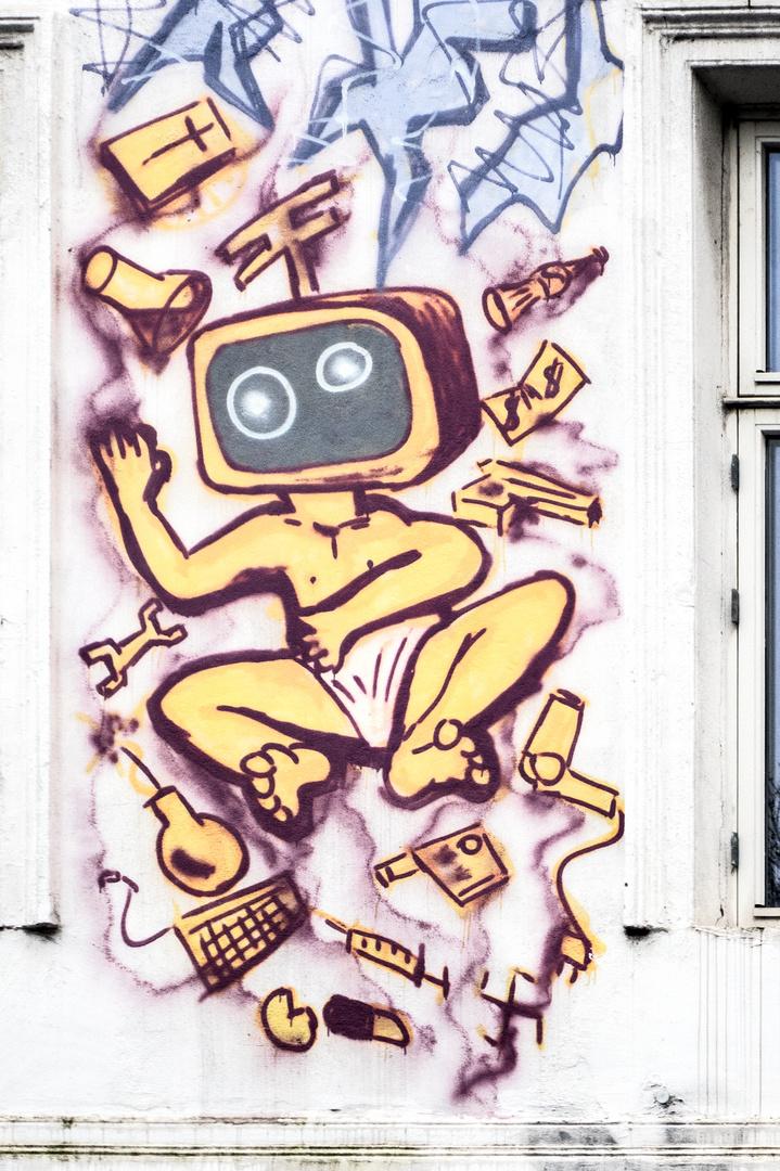 Graffiti st.Pauli Das Fernsehbaby