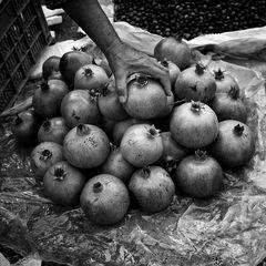 Granatäpfel mit Hand