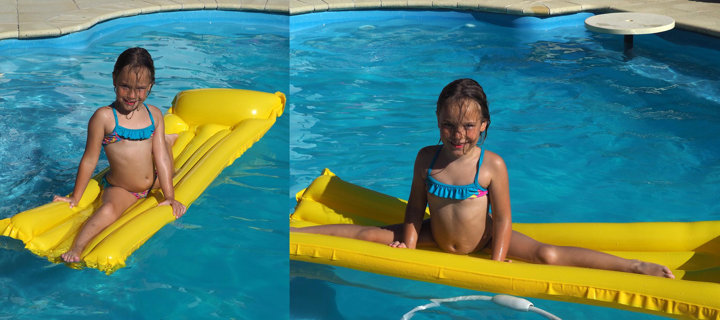 Grand écart et équilibre à la piscine