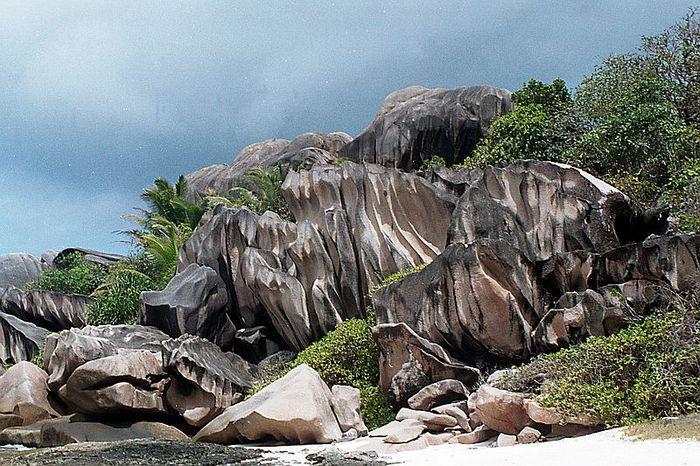 Granitfelsen an der Grand Anse, Insel La Digue