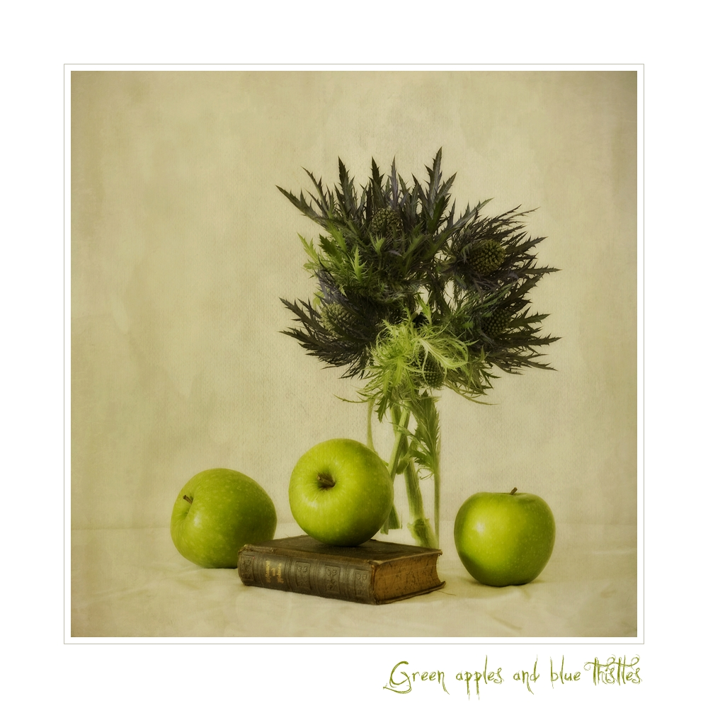 Green apples and blue thistles