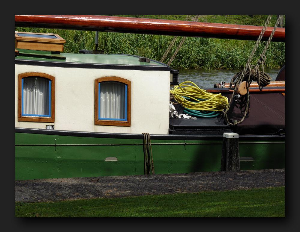 Green/white boat