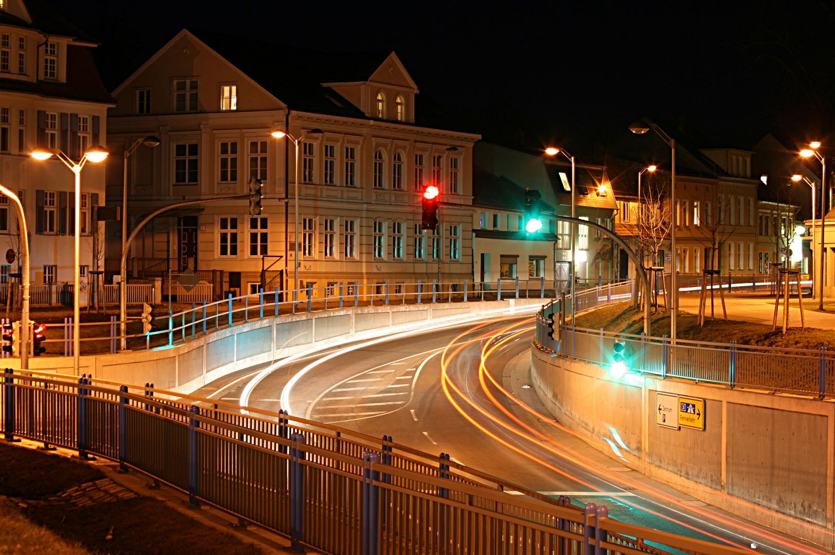 Greifswald bei Nacht Bahnhofstrasse