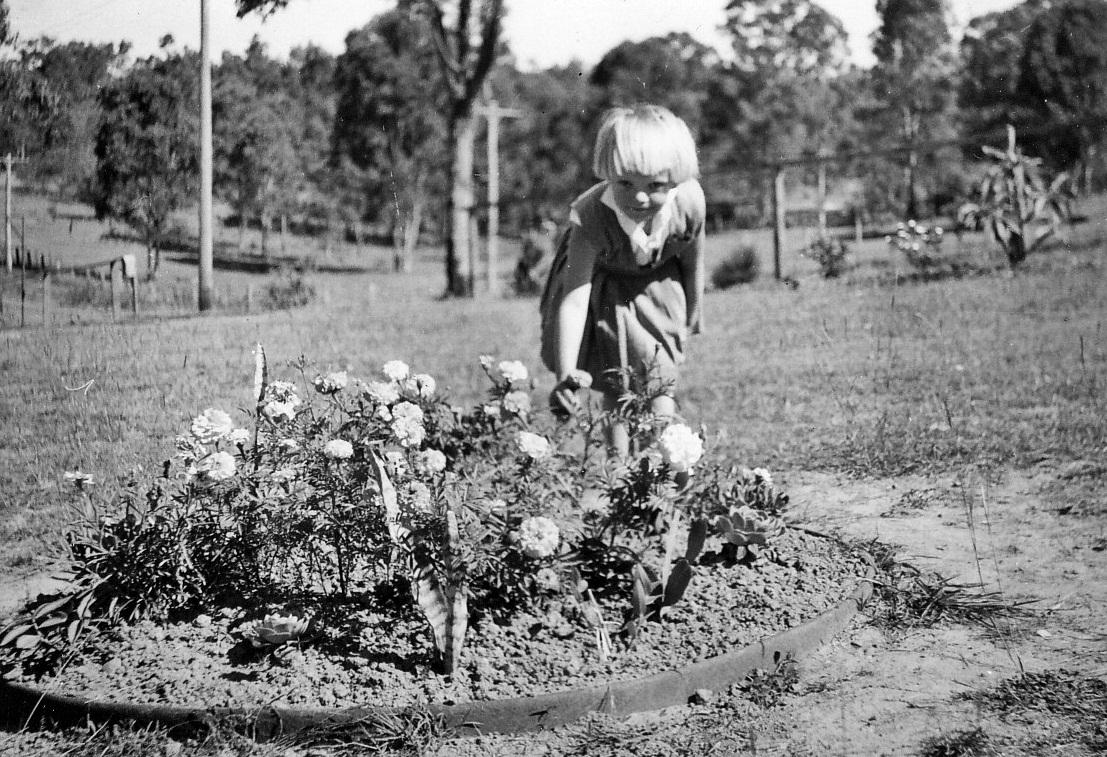 Gril in garden