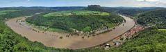 Große Elbeflut in Königstein am 05.06. 13 mit der berühmten Kurve in sphärischer Projektion