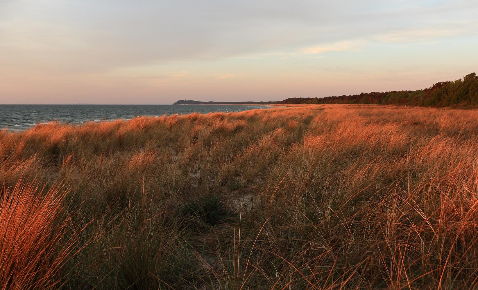 Große Stranddüne im Licht der aufgehenden Sonne