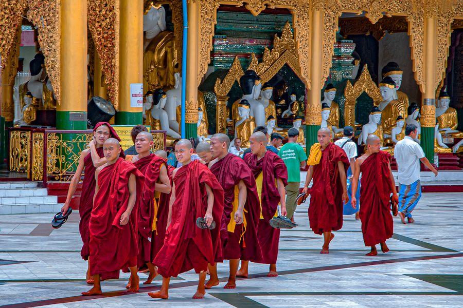 Group of monks at Shwedagon