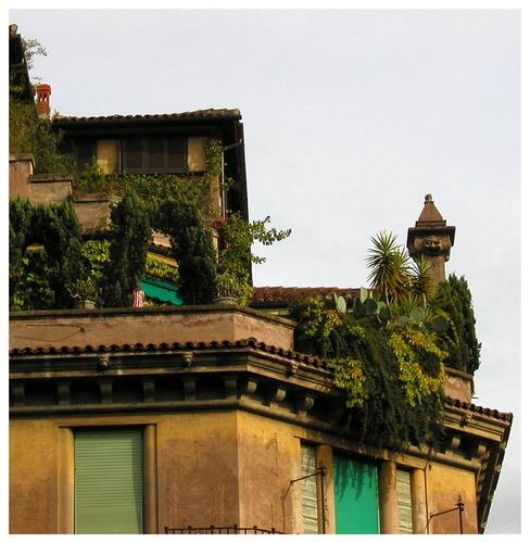 Grün belebt auch diese langweilige Hausfassade