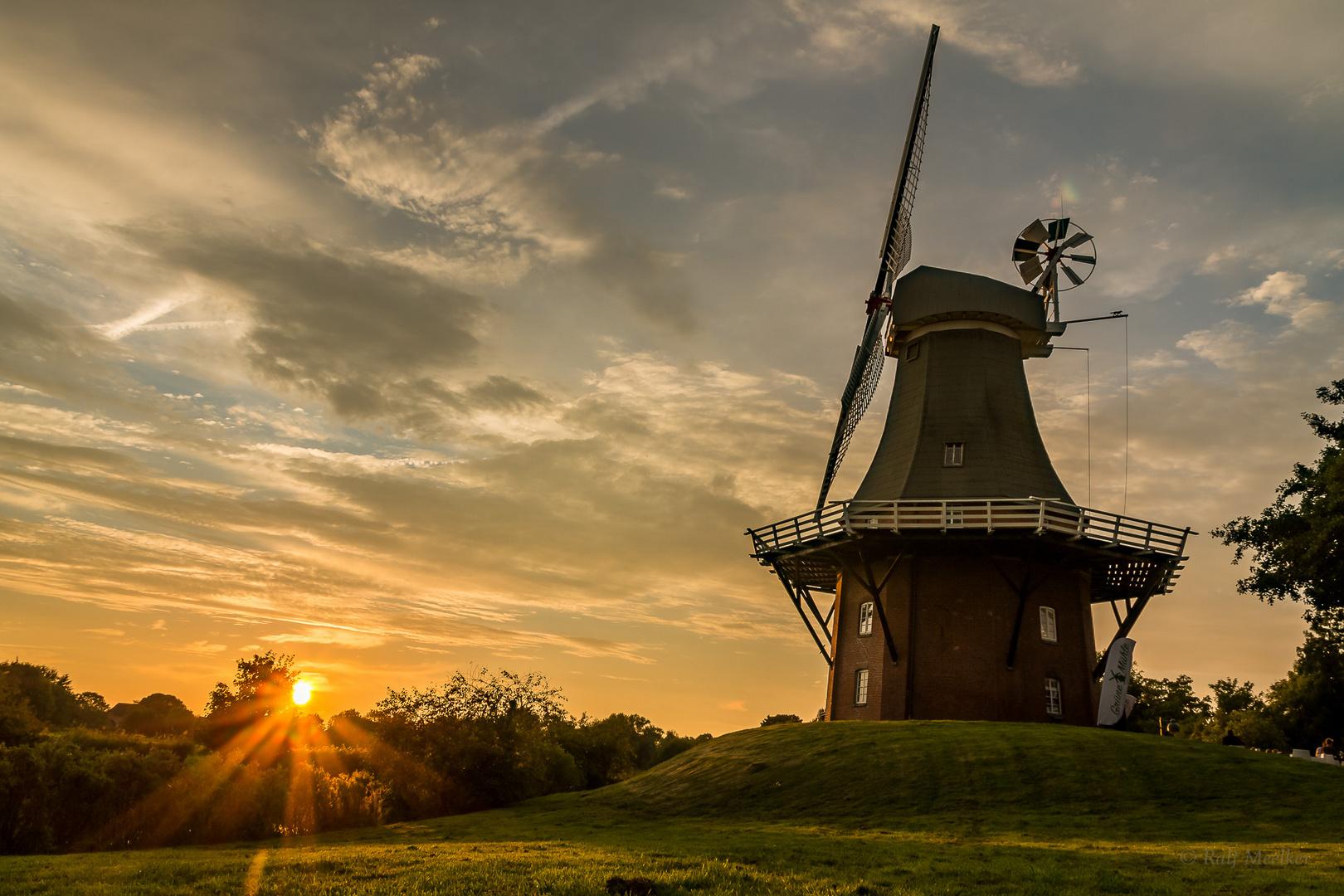 Grüne Mühle zum Sonnenuntergang in Greetsiel