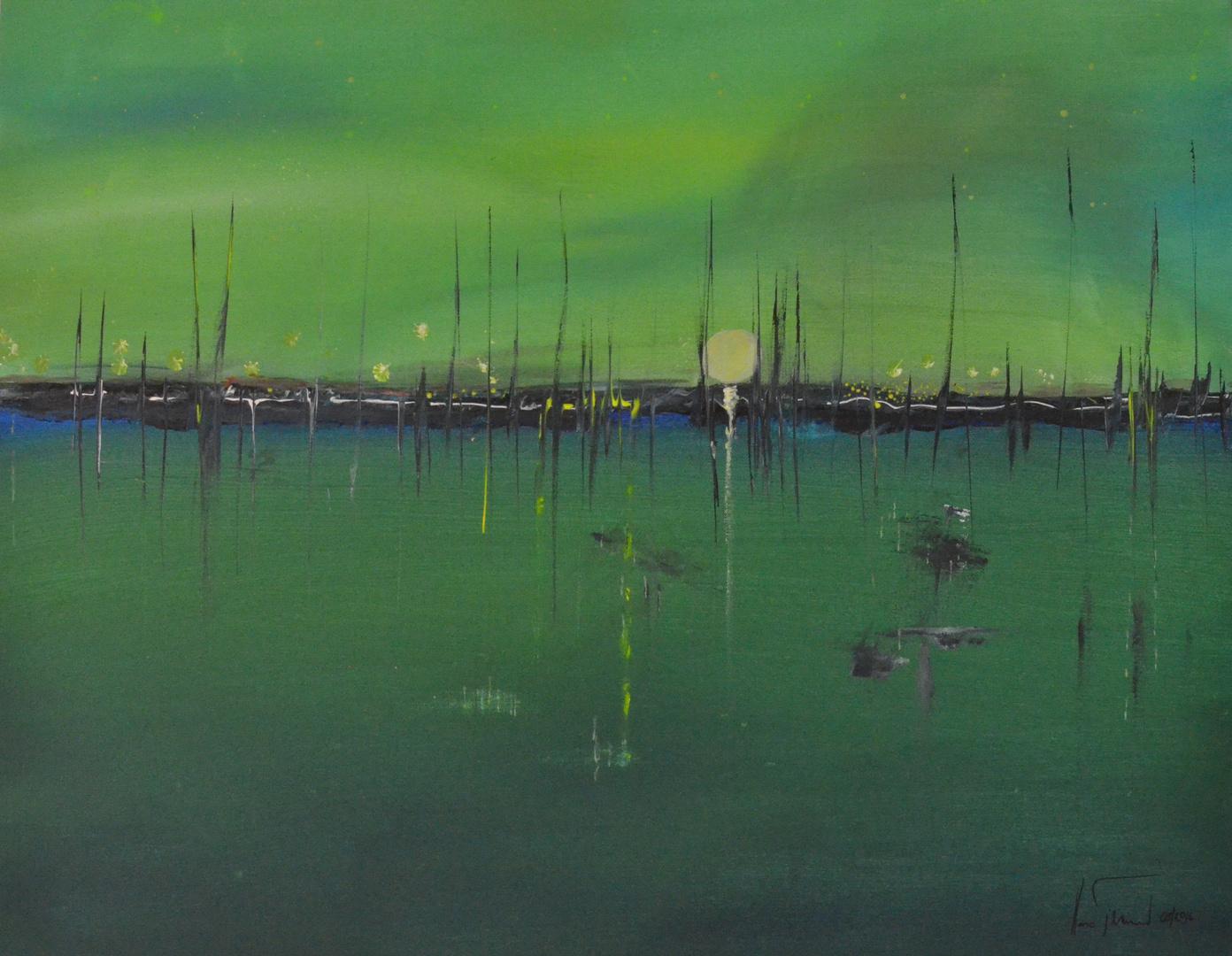 Grüne Nacht am See