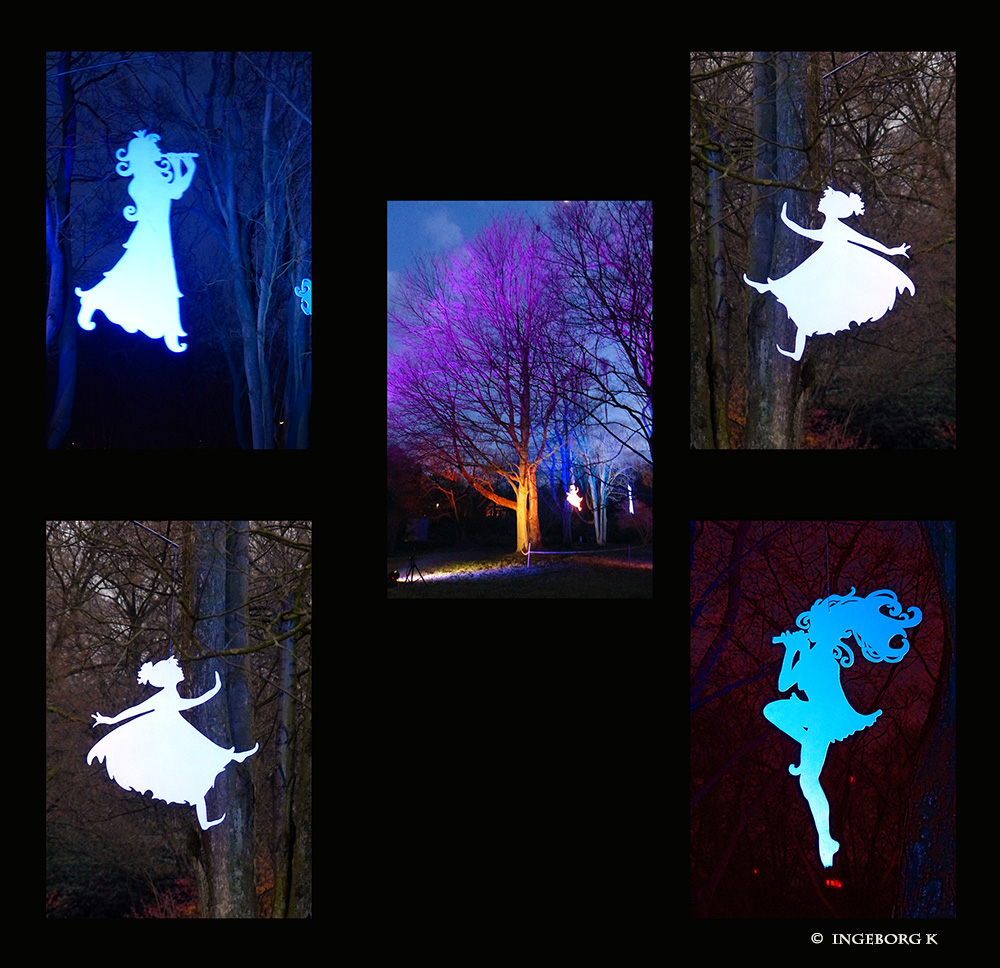Grugapark - tanzende Elfen im Scheinwerferlicht