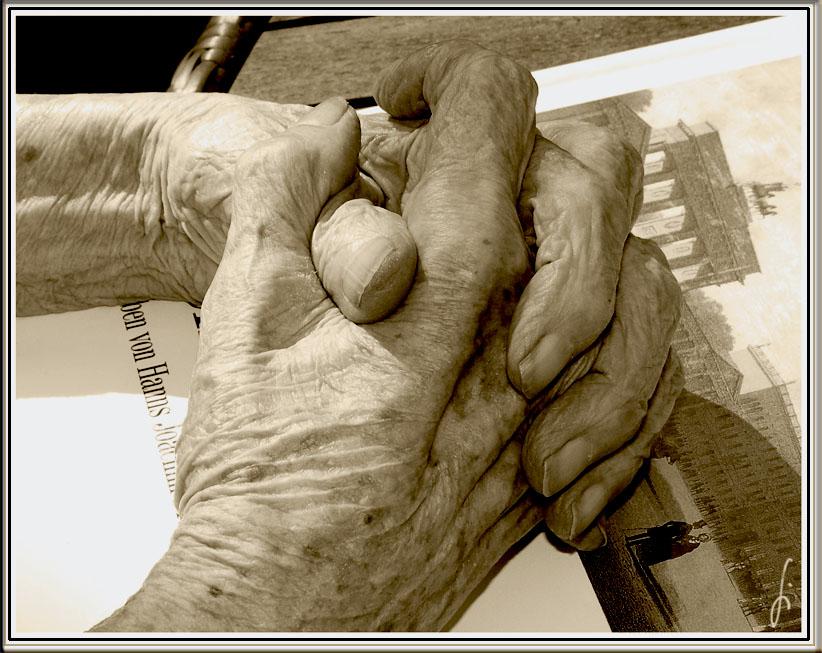Hände mit 91 Jahresringen