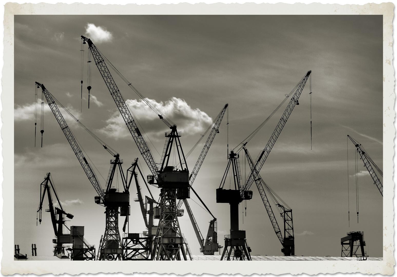 Hafen der Liebe, Kräne ..abgeschleppt...HH