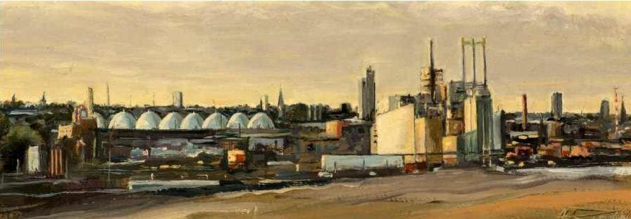 Hafen Klärwerk - Öl auf Leinwand - 28 x 13 cm - von Alexander Retzdorff