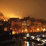 Hafen und Stadt-Silhouette Stralsund, winterlich