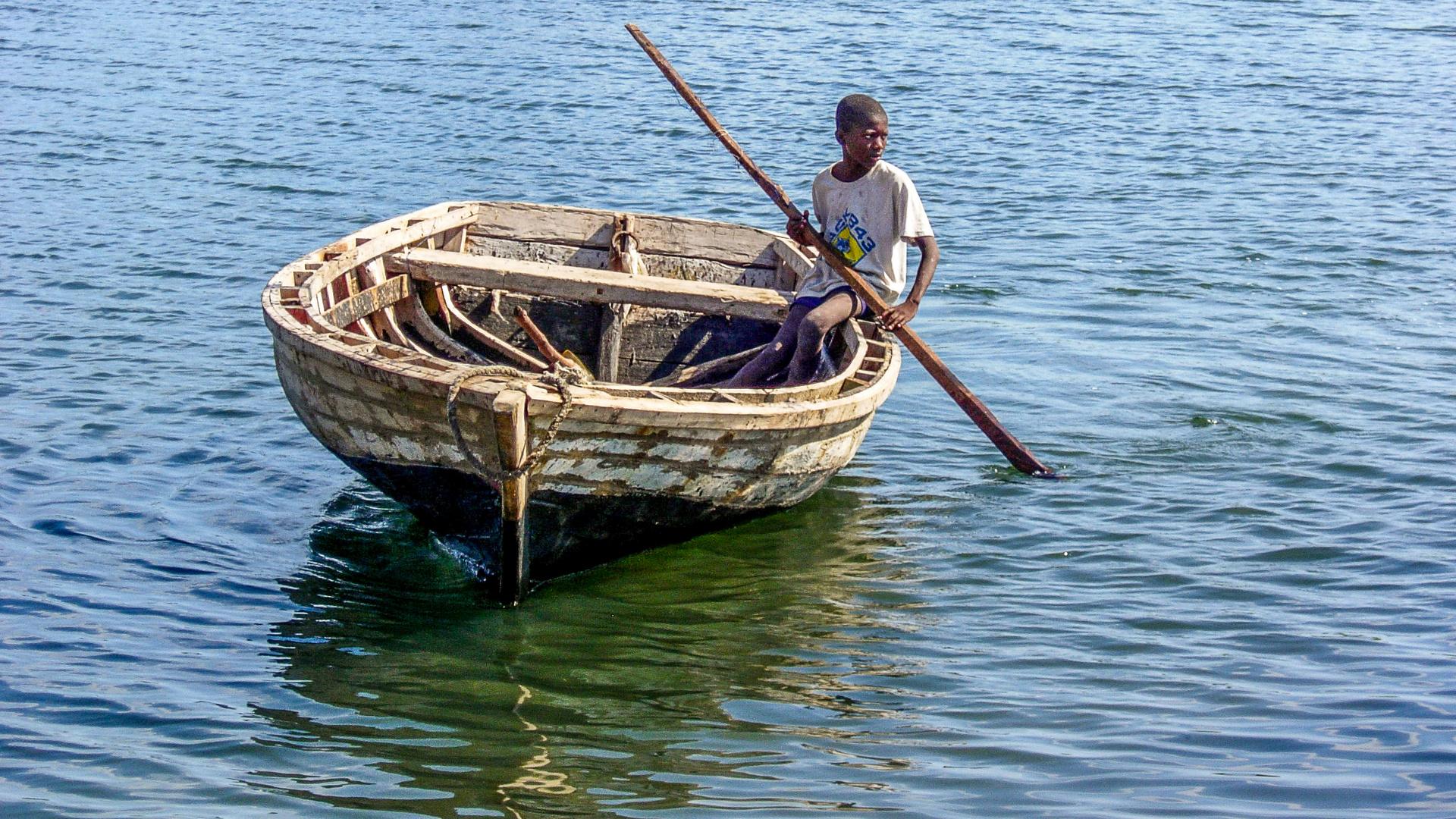 Haiti - a boy on the ocean