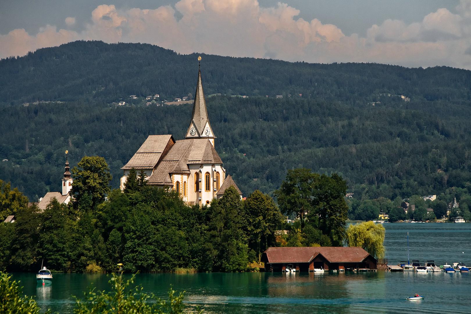Halbinsel Maria Wörth am Wörthersee in Klagenfurt im Bundesland Kärnten