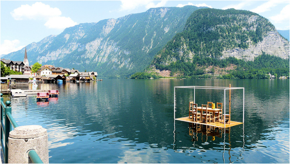 Hallstatt am Hallstätter See und moderne Kunst im Hallstätter See