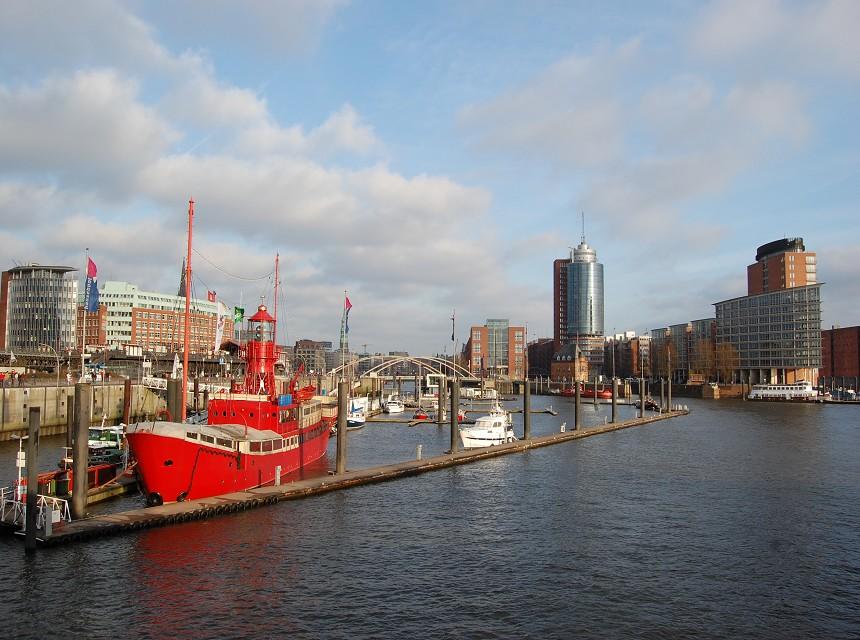 Hamburg Hafen Feuerschiff Kehrwiederspitze