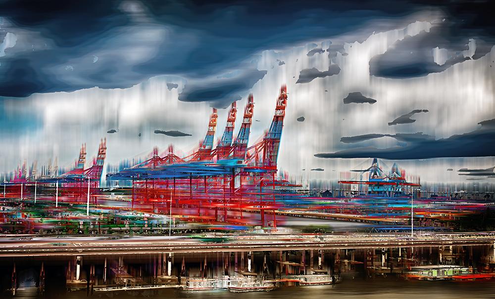 Hamburger Container-Terminals am Sonntag