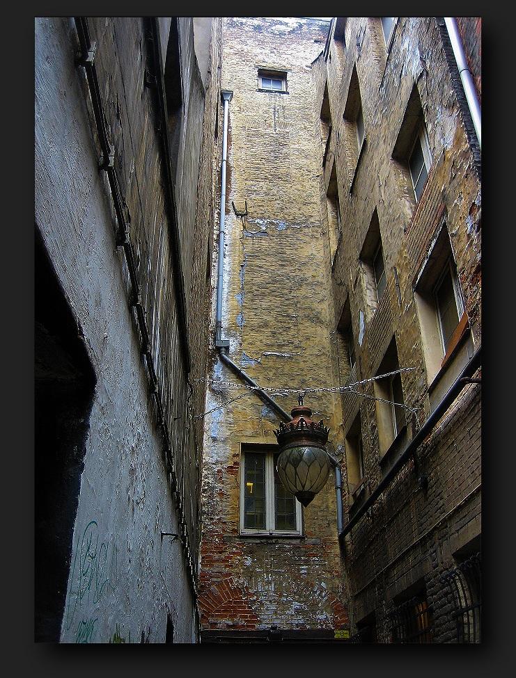 hanging lantern among the old walls