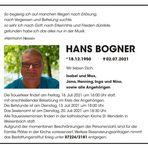 Hans Bogner *1950 † 2021