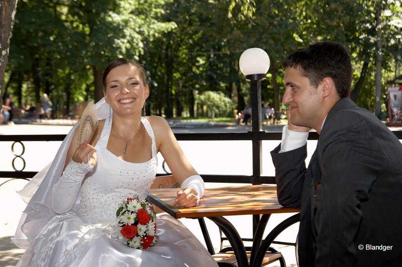 Happy bride with fan