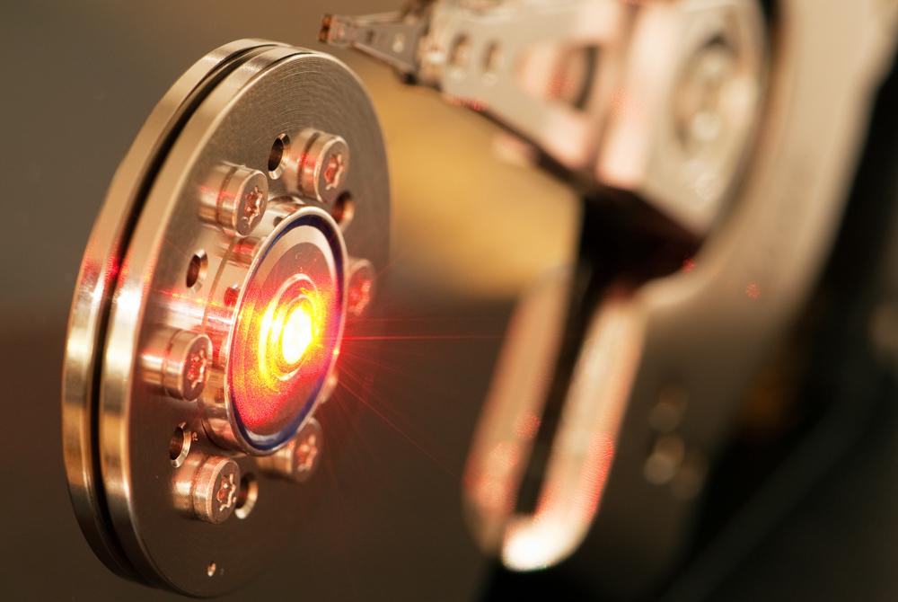 Harddisk-Makro mit Laser