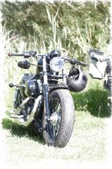 Harley Davidson Foto umgewandelt in eine Zeichnung