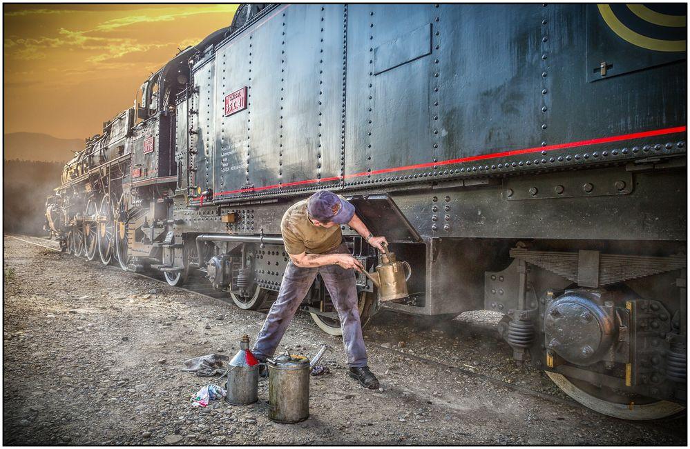harte arbeit an der lokomotive