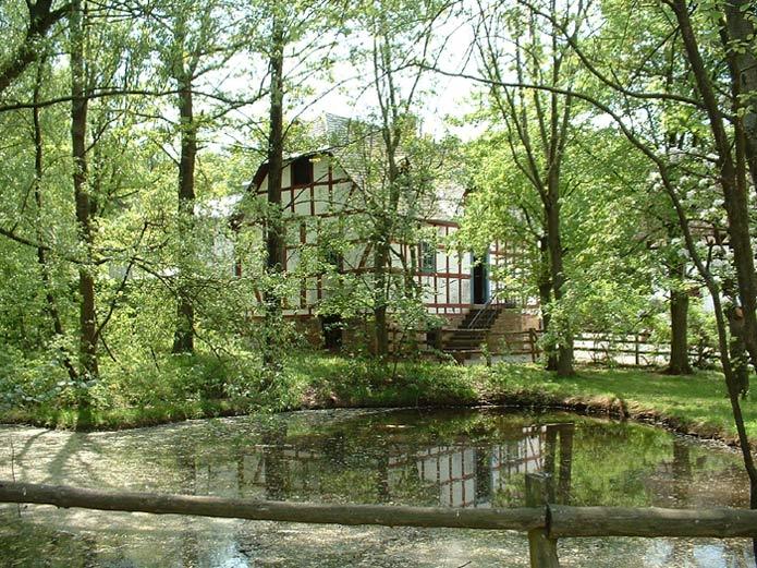 Haus hinter dem Teich