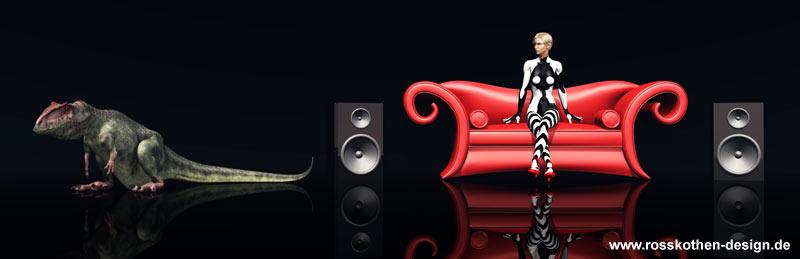 Haustier, Lautsprecherboxen und Frau auf rotem Sofa