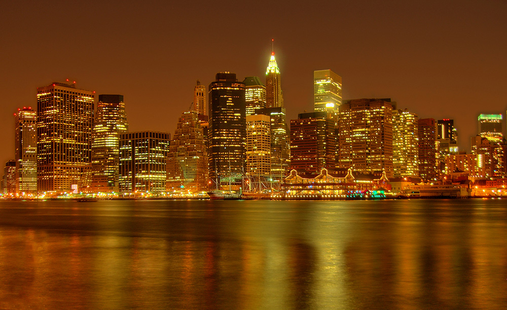 hdr skyline von manhattan bei nacht foto bild north. Black Bedroom Furniture Sets. Home Design Ideas