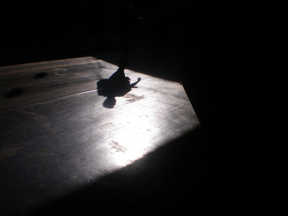 He runs on the shadow