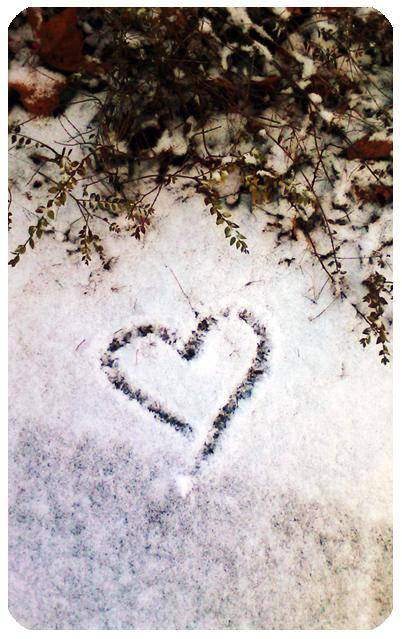Heart drawings in snow..