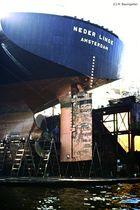 Heck des Frachters Neder Linge, Amsterdam (10,000 tons, Bj 1967)