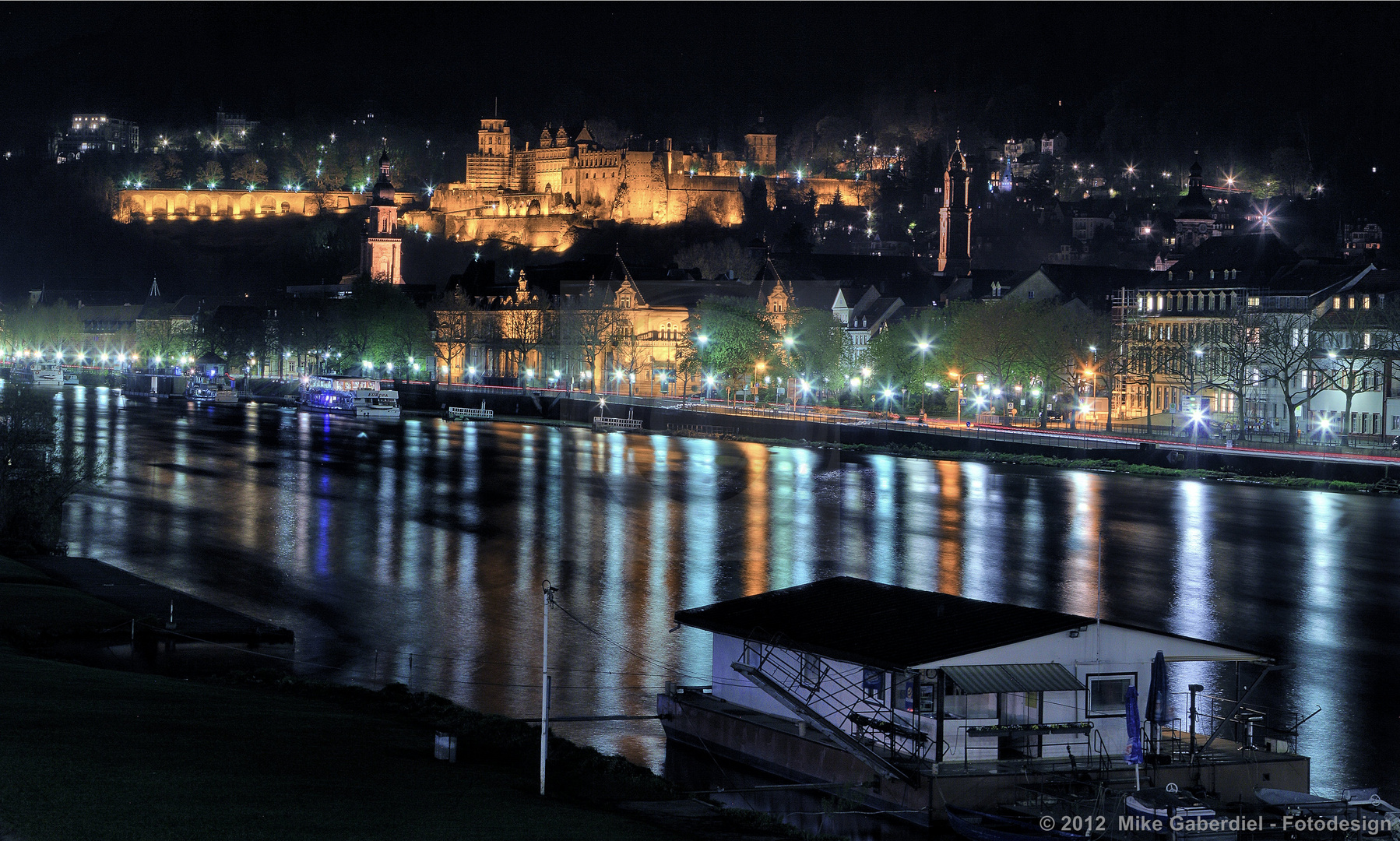 Heidelberg, Germany, Classical View of the Castle and Neckar river side