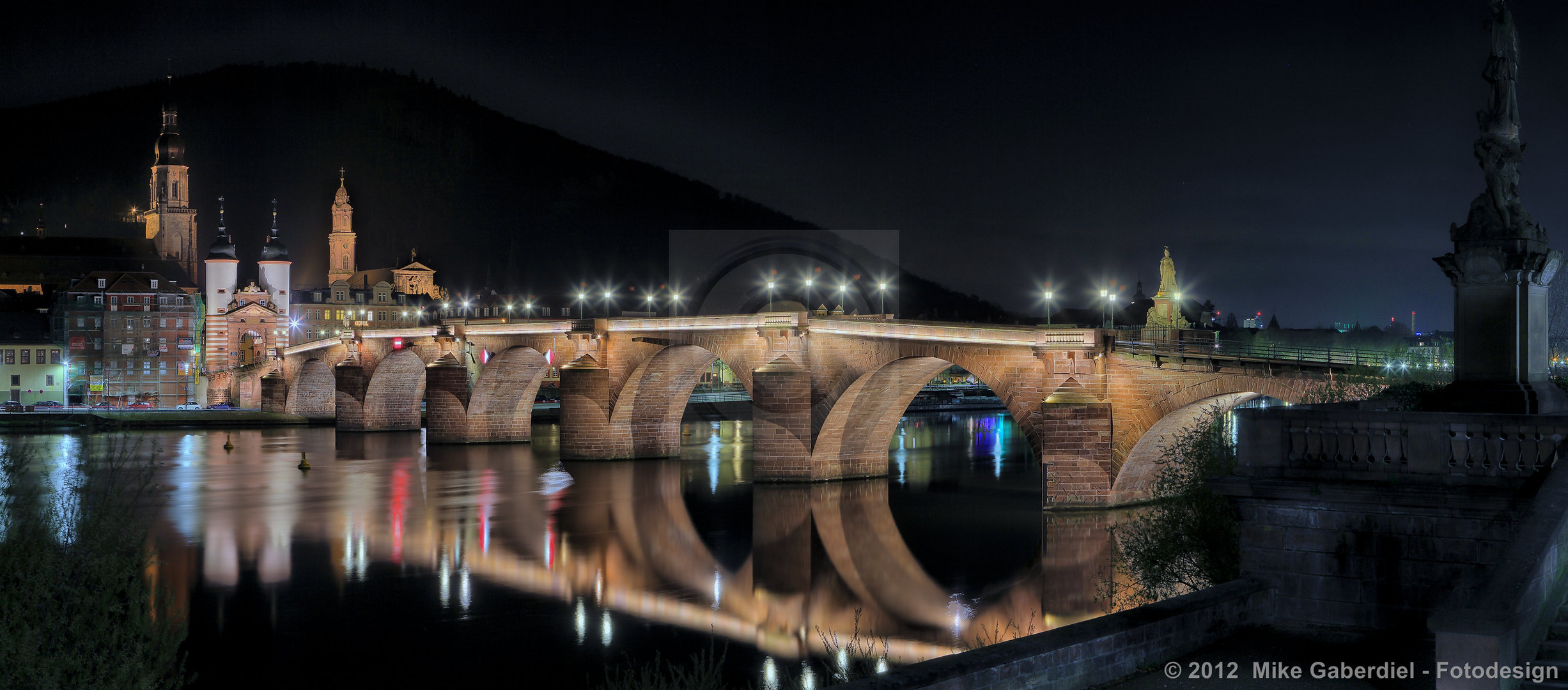 Heidelberg, Germany, Night view of Old Bridge from the opposite side